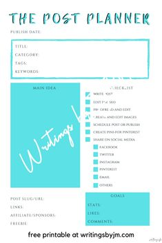 Plan ahead your blog posts using The Post Planner. Download for FREE! Main Idea, Free Printables, About Me Blog, Social Media, Writing, How To Plan, Free Printable, Social Networks, Composition