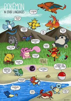 An Illustration Featuring the Meaning of Pokémon Names in Other Languages