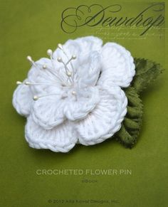 Dewdrop Crocheted Flower Pin. Free Pattern for Kids and Adult