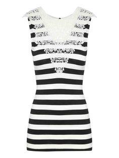 Crochet Trim Stripe Top | Jane Norman