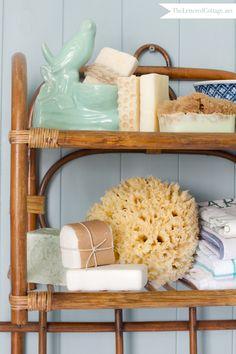 Lettered Cottage Half Bath Bent Wood Shelf