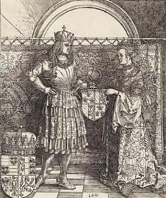 """Wedding between Mary of Burgundy and Maximilian I.  """"Maximilan I of Austria ."""" Hemmahoshilde (@Hilde's home). February 21, 2016. Accessed March 21, 2017. https://hemmahoshilde.wordpress.com/2015/06/25/maximilan-i-of-austria-diamonds-are-forever/."""