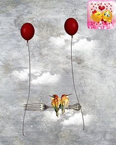 """#paintings """" #Floating Away"""" depicts two little birds floating away on an unlikely perch supported by two red balloons. It's surreal, dreamlike and tongue in chee..."""