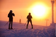 A short moment in the sun at Levi ski resort in Lapland. This is as high as the sun would rise in the beginning of January!
