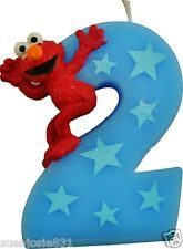 Sesame Street Elmo #2 nd Birthday Candle Party Supplies. Use as inspiration for posters - blue 2, red elmo. red 2, blue cookie