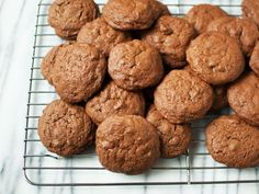 Brownie Batter Cookies : Trisha's crisp-yet-chewy cookies made with cocoa powder and chocolate chips are ready in less than 40 minutes.