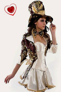 Womens Sexy Mad Hatter Tea Party Alice In Wonderland Fancy Dress Costume Corset in Clothes, Shoes & Accessories, Fancy Dress & Period Costume, Fancy Dress | eBay
