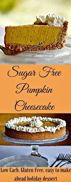 Sugar free Pumpkin Cheesecake is REALLY easy and SO delicious! Sugar free Pumpkin Cheesecake is REALLY easy and SO delicious! Sugar Free Desserts, Sugar Free Recipes, Low Carb Recipes, Dessert Recipes, Sugar Free Cakes, Cupcake Recipes, Sin Gluten, Fudge, Pumpkin Cheesecake Recipes