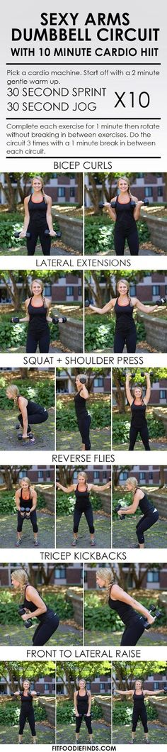 Sexy Arms Dumbbell Circuit Workout with 10 Minute . Sexy Arms Dumbbell Circuit Workout with 10 Minute Cardio HIIT Fitness Motivation, Fitness Workouts, At Home Workouts, Fitness Tips, Health Fitness, Quick Workouts, Fitness Circuit, Health Diet, Circuit Workouts