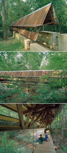 Perry lakes park covered bridge / Rural Studio Studios Architecture, Landscape Architecture, Architecture Design, Bridge Design, Roof Design, Rural Studio, Bridge Structure, Tulum, Honeymoon Places