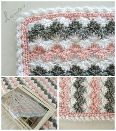 (Made by: Chichi) Crochet * Stash-buster My aunt made this pretty blanket for a baby girl. Mi tía hizo esta linda manta para...