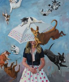 "Saatchi Online Artist: Fiona Phillips Oil Painting - 2012 ""Raining Cats and Dogs"" ♥ Art And Illustration, Illustrations, Umbrella Art, Raining Cats And Dogs, All Nature, Wow Art, Art Plastique, Surreal Art, Painting & Drawing"