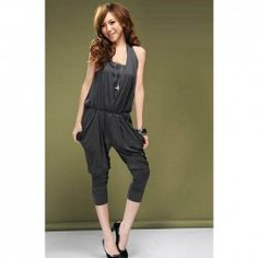 $8.32 Western Fashion Elastic Waist and Bust Design Cotton Halter Jumpsuit