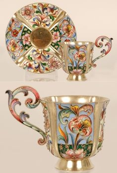 A Russian silver gilt and cloisonné enamel cup and saucer, Maria Semenova, Moscow, 1896-1908. Both cup and saucer worked in four by Tuatha