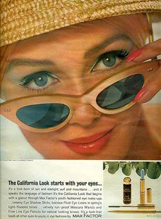 California Look by Max Factor 1963 Vintage Makeup Ads, Vintage Nails, Retro Makeup, Vintage Beauty, Max Factor, Mode Vintage, Retro Vintage, Vintage Outfits, Vintage Fashion