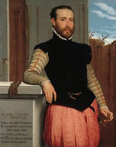 Giovanni Battista Moroni, Portrait of Prospero Alessandri. Doublet sleeves with rows of slashes between rows of trim; jerkin with slashes and hidden closures. Paned hose with slashes. Renaissance Mode, Renaissance Fashion, Renaissance Clothing, Historical Clothing, 16th Century Fashion, 14th Century, Tableaux Vivants, Renaissance Portraits, Old Portraits