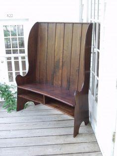 Curved Back Walnut Bench