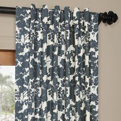 Exclusive Fabrics Fleur Blue Cotton Printed Curtain Panel