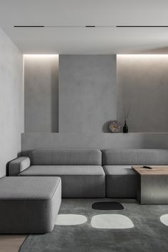 Minimal cave is a project of the small private apartment placed in Brovary, Ukraine. Designed by Ihor Havrylenko for a family who loves minimalism and gray color. They don't think about adding a lot of textures because it will make this space filled. Grey Interior Design, Appartement Design, Cool Beds, Small Apartments, Interior Inspiration, Interior Architecture, Furniture Design, Luxury Furniture, Modern Furniture
