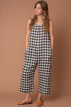 gingham jumpsuit sustainably made Gingham Jumpsuit, Jumpsuit Outfit, Jeans Material, Made Clothing, Ethical Fashion, Sewing Clothes, Summer Outfits, Fashion Dresses, My Style