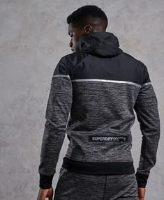 Shop Superdry Mens Training Hybrid Zip Hoodie in Charcoal Grit. Gym Outfit Men, Mens Sweatshirts, Men's Hoodies, Womens Workout Outfits, Athletic Fashion, Polo T Shirts, Zip Hoodie, Gym Men, Convertible