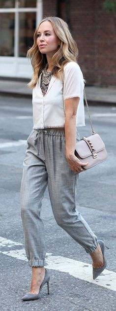 awesome Silver Statement Necklace Grey Jogger Pants Outfit Idea