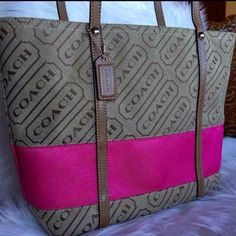 """NEW COACH TOTE NWOT AUTHENTIC COACH LOGO MEDIUM TOTE. Brand new condition Khaki and pink Very cute bag!  Measurements: 14""""w x 20""""h x 3.5d Coach Bags Totes"""