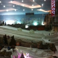 Ski slopes inside mall in Dubai