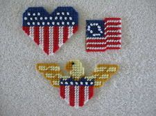 3 Patriotic Magnets Heart Flag, Flag, Eagle Plastic Canvas 4th of July Magnets