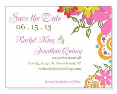 Bright Flowers Save the Date