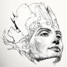 "in progress ""mystik mask"" by Alex Azza Visnic. Nefertiti, fine art, ink drawing, illustration, portraits. http://mystikmask.com/2012/10/27/nefertiti-growing-into-mystik-mask-542/"