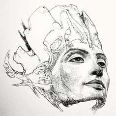 "in progress ""mystik mask"" by Alex Azza Visnic. Nefertiti, fine art, ink drawing, illustration, portraits. http://mystikmask.com/2012/10/27/nefertiti-growing-into-mystik-mask-542/"