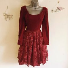 8b1fe819bae Beautiful vintage red velvet and lace dress this is a dress - Depop - 19
