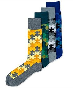 Alfani Spectrum Men's Socks, Puzzle Casual Crew Socks - NEED these for our puzzle-themed wedding!