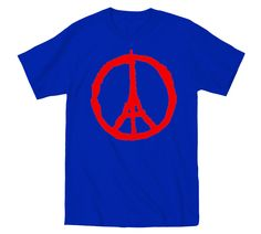 Stand In Unity with France - Pray For Paris - Blue with Red Peace Symbol T-Shirt