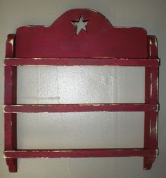 Linen Rack - great primitive rack to showcase your favorite towels and such.  3 bar, star cutout at top - this on is rustic burgandy over black and distressed.  Perfect for a bathroom or kitchen - one customer put in her bedroom!!  $21