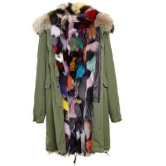 MR & MRS ITALY Reversible Garance Fox Fur Lined Parka ($6,745) ❤ liked on Polyvore featuring outerwear, coats, lined parka, green coat, lined parka coat, lined coat and reversible coat
