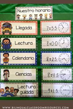 Dual Language Classroom, Bilingual Classroom, Bilingual Education, Spanish Classroom, Classroom Resources, Teacher Resources, Behavior Management Strategies, Classroom Management, Classroom Schedule