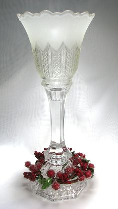 Cut Glass Candlestick Repurposed by SpinTilYurDizzy, $20.00