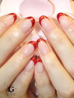 brilliant red french nail