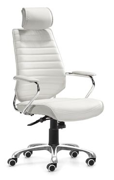 Enterprise High Back Office Chair White by Zuo Modern