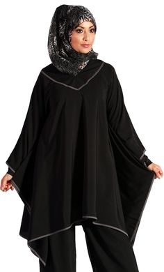 This Black Kaftan is an ideal look great and feel comfortable garment. This slip on shirt Kaftan has fabric stitched together along the arms. Its loose silhouette and fluid drape gives you that modest yet chic look you've been looking for. Fabric: Poly-Crepe
