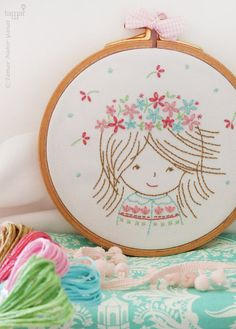 Birthday embroidery, Birthday kit, Birthday applique - Birthday Girl - Embroidery Kit, Birthday present for her, Birthday flower crown - DeLiCaTeD EmBrOiDeRy :. Wooden Embroidery Hoops, Embroidery Hoop Art, Hand Embroidery Designs, Vintage Embroidery, Cross Stitch Embroidery, Embroidery Patterns, Birthday Presents For Her, Diy For Girls, Etsy