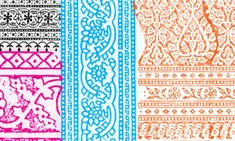 Basic colours of block printing patterns