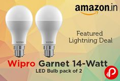 Amazon Featured Lightning Deal offers Wipro Garnet 14-Watt LED Bulb Pack of 2, Cool Day Light. Color Temperature: 6500K, Lumens: 1450 Lm, 90 percent brighter than CFL equivalent wattage, Replace 100 watts GLS bulb with 85 percent energy saving, Replace 23 watts CFL with 40 percent energy saving.  http://www.paisebachaoindia.com/wipro-garnet-14-watt-led-bulb-pack-of-2-featured-lightning-deal-amazon/