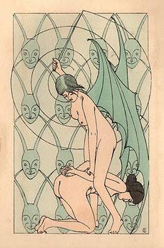"""Curiosa : Superbe suite de 20 compositions symbolistes par Henri Caruchet (1904) : """"La flagellation à travers le monde"""""""