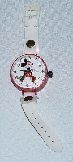 Vintage 1977 Disney Mickey Mouse Plastic Toy Wrist Watch By Durham Industries  #Disney