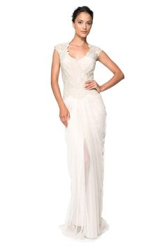 Tadashi Shoji Hand-Beaded Lace and Draped Tulle Gown Used Wedding Dresses, Wedding Gowns, Bride Dresses, Tulle Gown, Lace Dress, Women's Evening Dresses, Formal Dresses, Tadashi Shoji Dresses, Casual Wedding