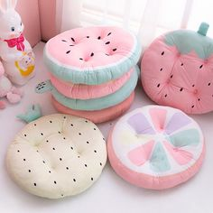 Own a collection of these Kawaii Fruit Chair Pads or Seat Cushions for your living room. These round chair cushions have 7 cute fruit designs you can choose from. Fruits Kawaii, Girls Bedroom, Bedroom Decor, Kawaii Bedroom, Cute Furniture, Cute Room Decor, Pastel Room Decor, Cute Pillows, Cute Cushions