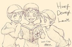 Huey, Dewey, and Louie, Scrooge's nephews! Disney animals as humans...*_*...so glad this has happened.